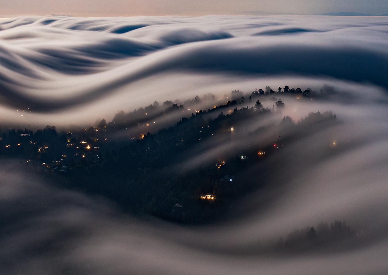 Moonlit Fog Waves