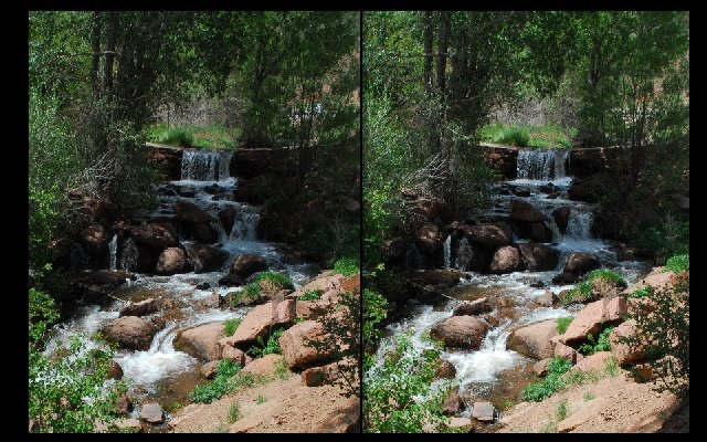 """ManitouFallsStereo640x400 - Though dynamic subjects are not good for faux 3D, sometimes running water may be acceptable.  Though it may seem strange at first, the sensation of something dynamic in the photo begins to grow on you.  (If not, click """"Next"""" ;-)"""