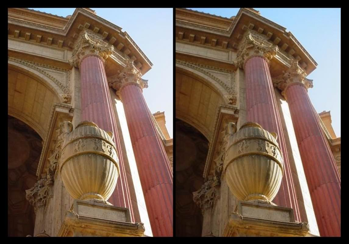 SFPofFAColumnsStereo - Columns at the Palace of Fine Arts in San Francisco