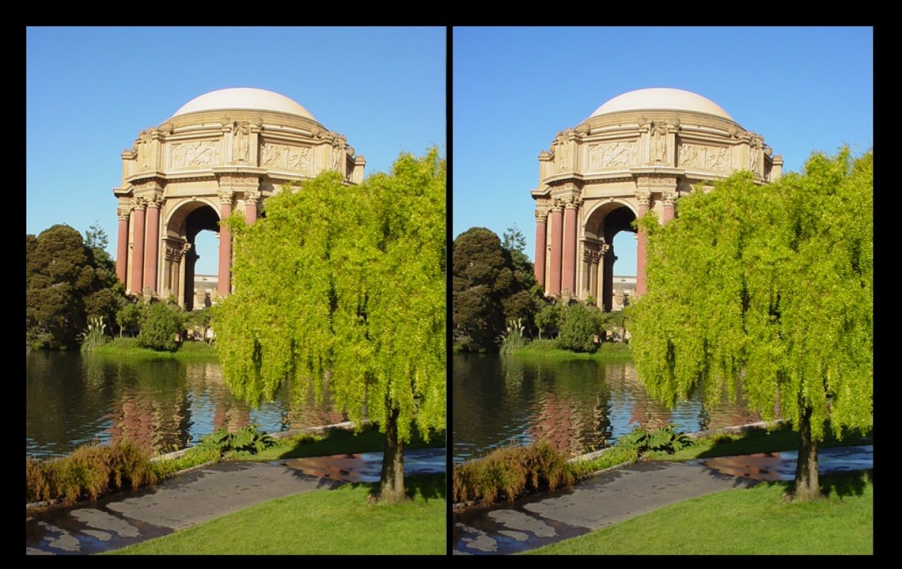 SFPalaceFineArtStereo - the Palace of Fine Arts in San Francisco