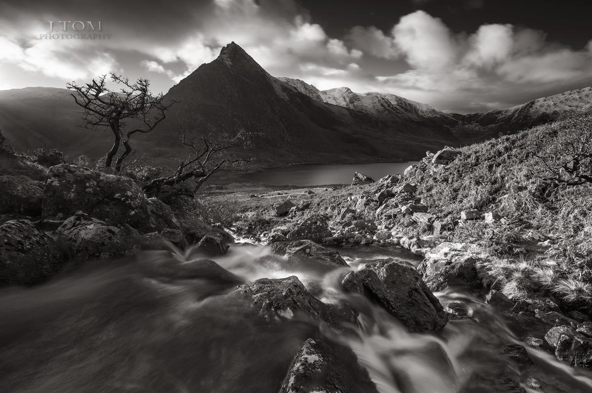 Tryfan Snowdonia Wales in b&w....