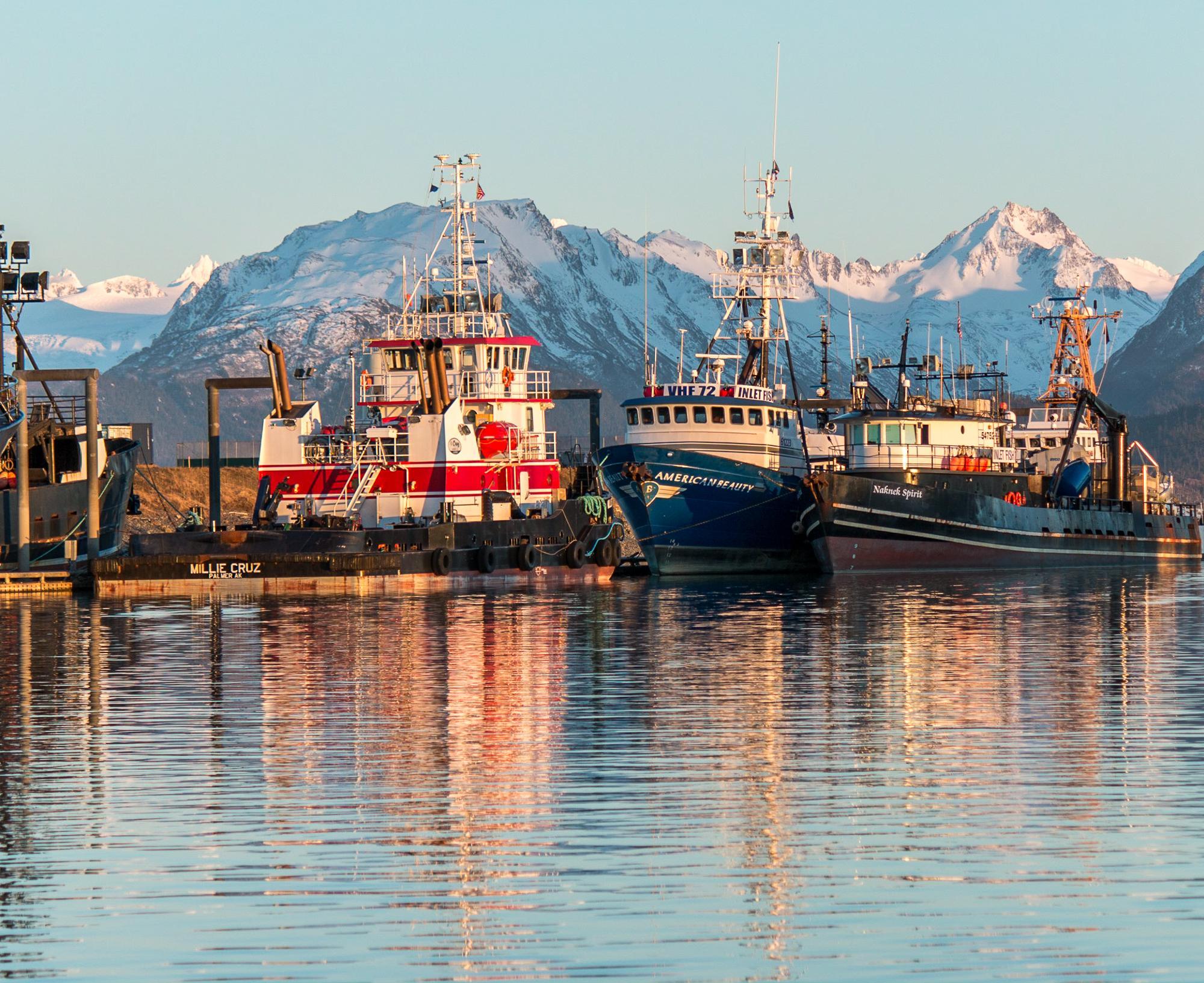 Winter Harbor Boat Sunset