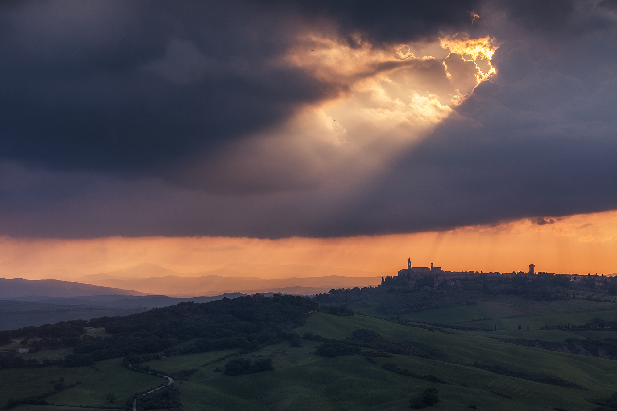 A Stormy Sunset Over Pienza