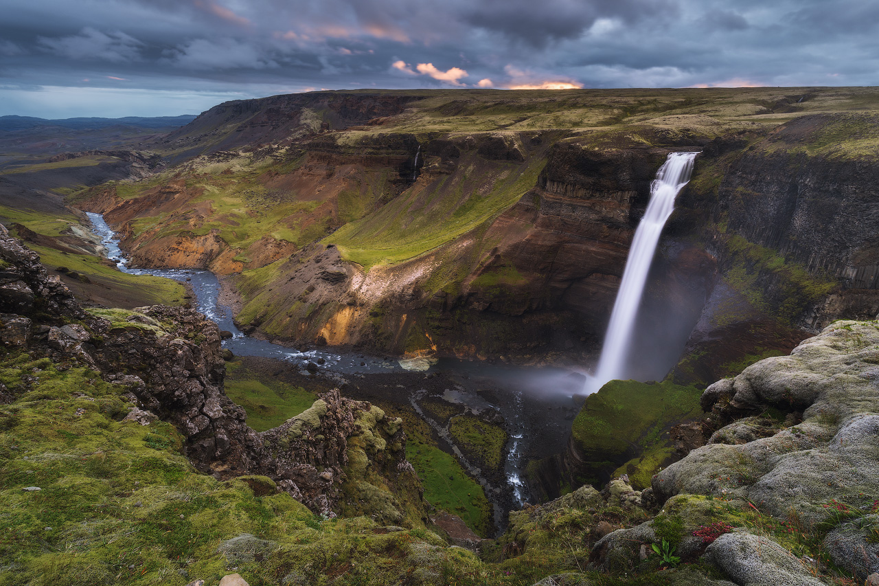 Waterfall in the Icelandic Highlands