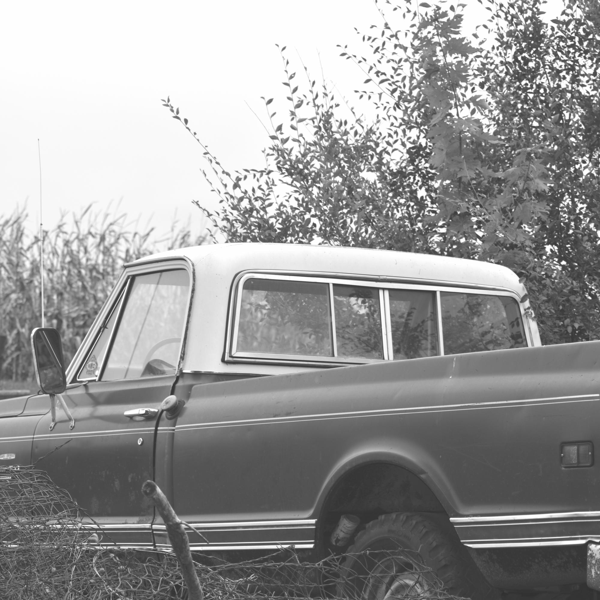 black and white truck