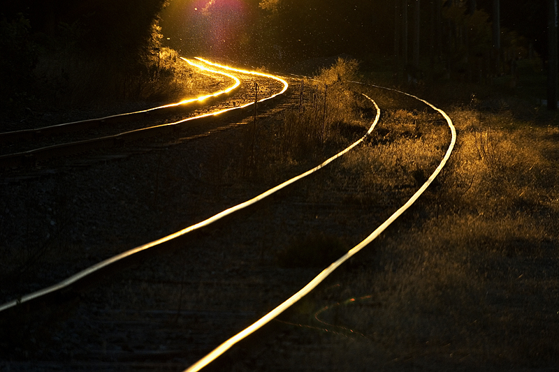 Rails at sunset.