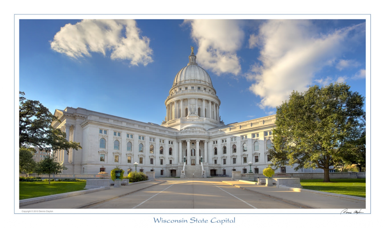 Wisconsin Capital photographed in HDR with a bracket of 3 exposures.
