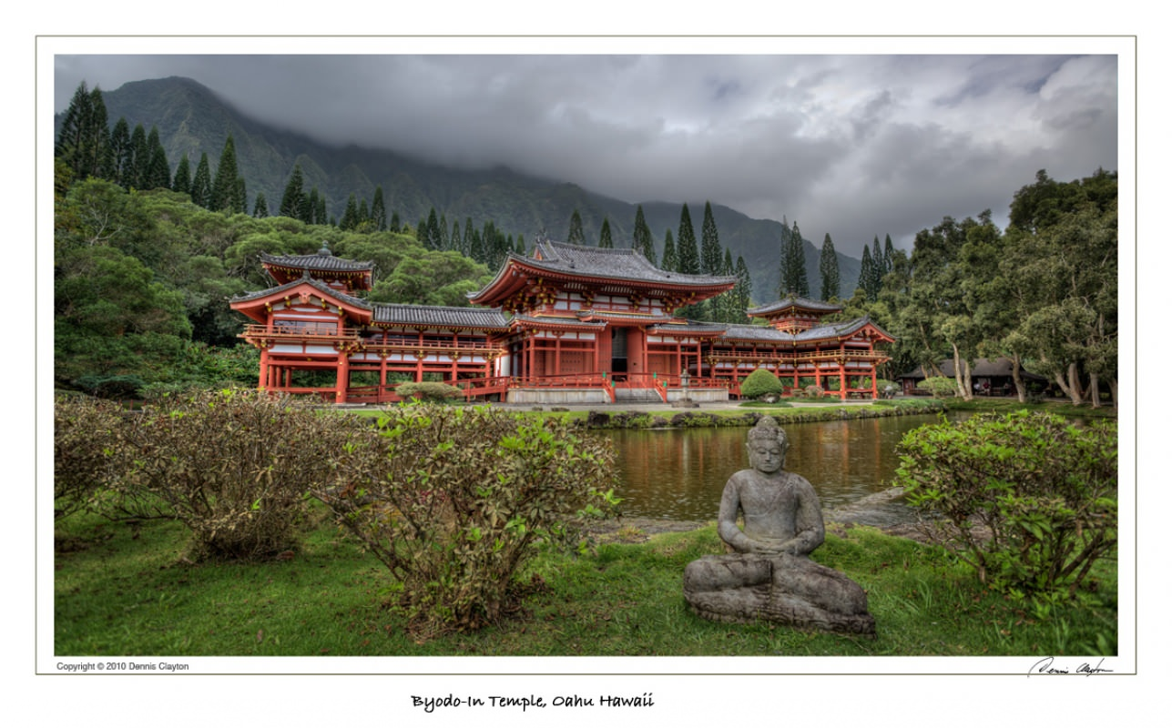 Byodo-In Temple, Oahu Hawaii was photographed as a three exposure HDR image (high dynamic range). The image was processed in Photomatix Pro 3.2 with further refinements done in Photoshop CS4.
