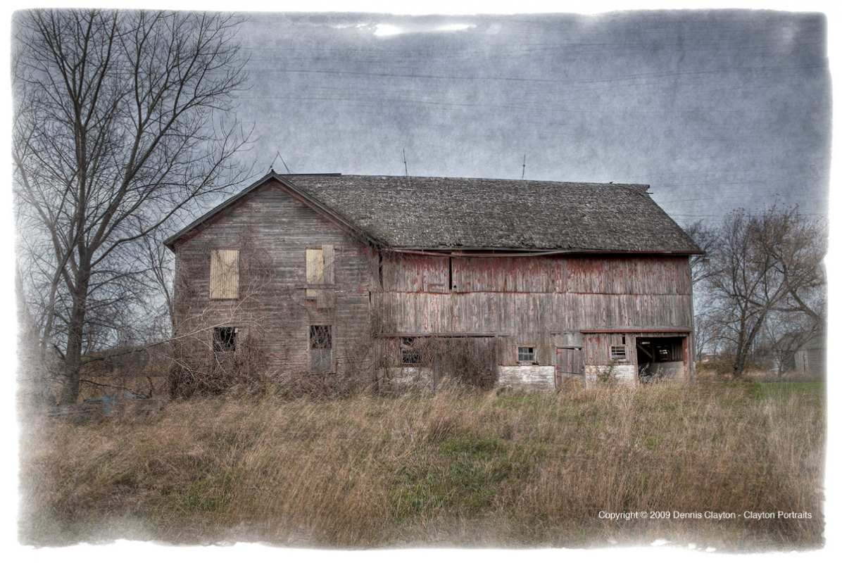 This barn was photographed in a series of 3 bracketed exposures and combined in Photomatx Pro 3.2 to create and HDR image. Further manipulations were done in Photoshop CS4 and the textures added from www.photoshop-textures.com.
