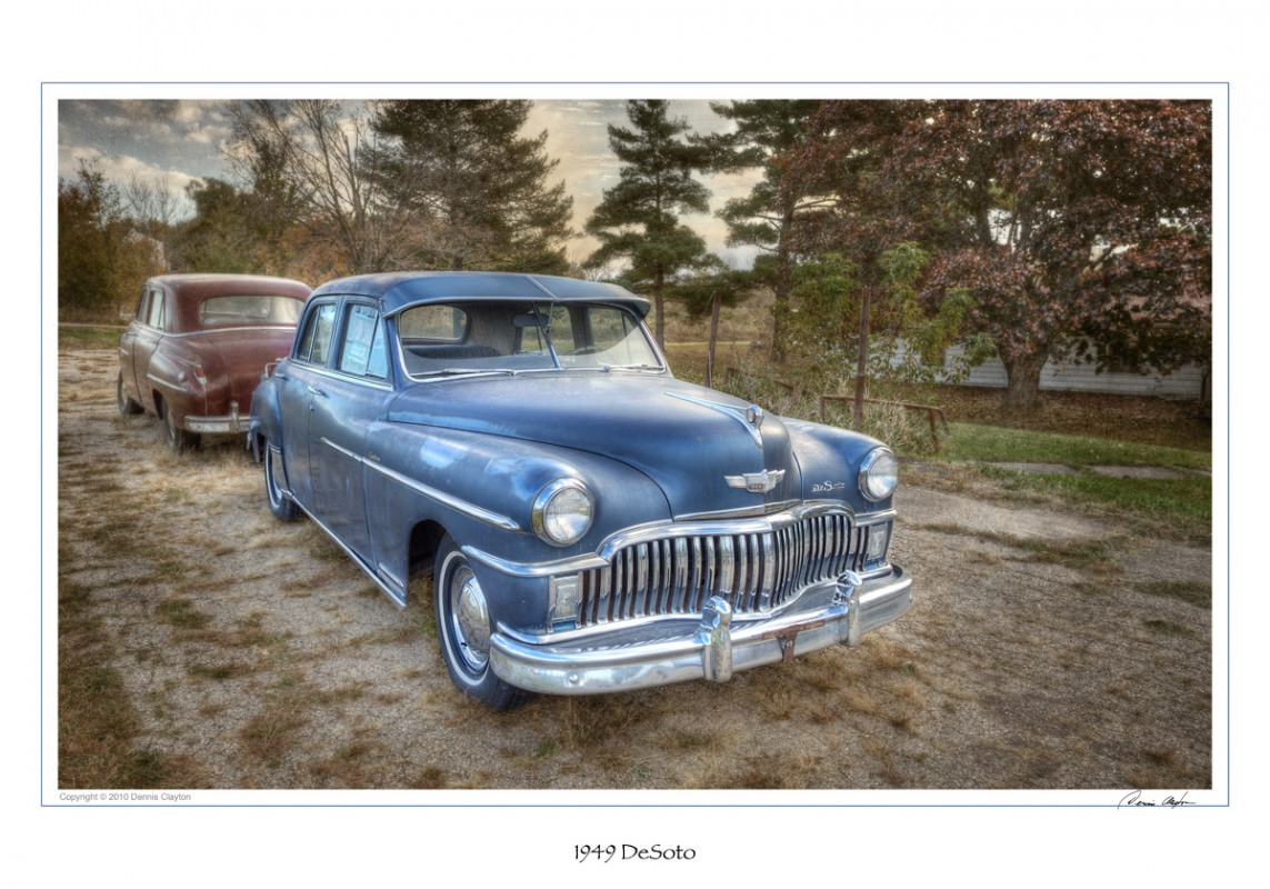 These 1949 DeSoto's were photographed in a 5 exposure HDR and combined in Photomatix Pro 4.0. Further manipulations were done in Photoshop CS5 and texture applied from http://photoshop-textures.com/.