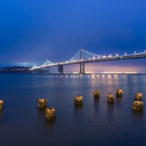 Blue Hour Bay Bridge by PJ van Schalkwyk