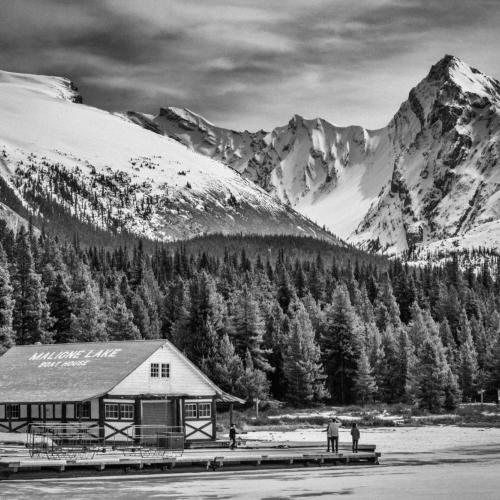 Maligne Lake Boathouse by Norma Tracy