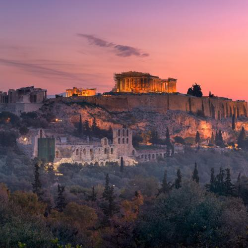 View of Acropolis from the Philopappos Hill in the Morning by ansharphoto
