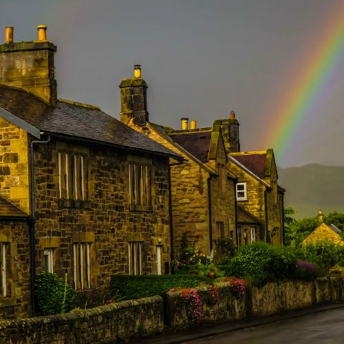 rainbow over cottage near chillingham edit by David